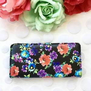 Black Bi-fold Colorful Bright Floral Print Wallet